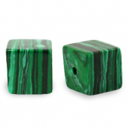 8 mm Naturstein Perlen Square Green