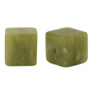 8 mm Naturstein Perlen Square Olive green