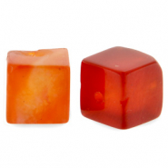 8 mm Naturstein Perlen Square Fire red