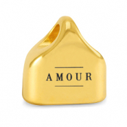 "Metall Endkappen DQ ""AMOUR"" Mix & Match Gold (Nickelfrei)"