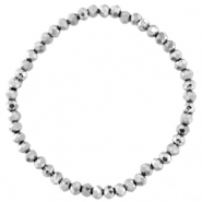 Facett Glas Armbänder 4x3mm Silver-pearl shine coating