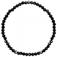 Facett Glas Armbänder 4x3mm Black-pearl shine coating