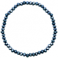 Facett Glas Armbänder 4x3mm Classic blue-pearl shine coating