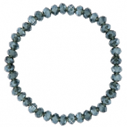 Facett Glas Armbänder 6x4mm Greige blue-pearl shine coating