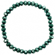 Facett Glas Armbänder 6x4mm Dark green-pearl shine coating
