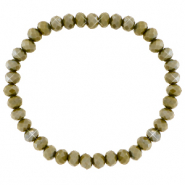 Facett Glas Armbänder 6x4mm Olive army green-pearl shine coating