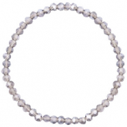Facett Glas Armbänder 4x3mm Greige champagne-pearl shine coating