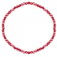 Facett Glas Armbänder 3x2mm Salsa red-pearl shine coating