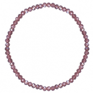 Facett Glas Armbänder 3x2mm Light purple-pearl shine coating