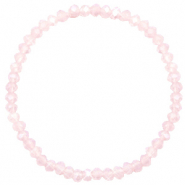 Facett Glas Armbänder 4x3mm Light pink-pearl shine coating