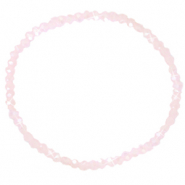 Facett Glas Armbänder 3x2mm Light pink-pearl shine coating