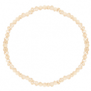 Facett Glas Armbänder 3x2mm Beige peach-half pearl shine coating