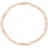 Facett Glas Armbänder 4x3mm Champagne beige-pearl shine coating