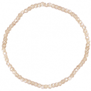 Facett Glas Armbänder 3x2mm Champagne beige-pearl shine coating