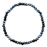 Facett Glas Armbänder 3x2mm Midnight blue-pearl shine coating
