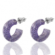 Ohrringe Creolen Polaris Elements glitter 18mm Provence lilac