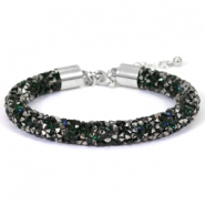 Crystal diamond Armbänder 8 mm Deep emerald green-anthracite