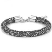 Crystal diamond Armbänder 8 mm Black diamond-anthracite