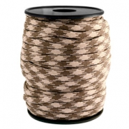 Trendy kordel rund Paracord 4mm Beige-dark brown