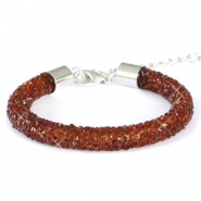 Crystal diamond Armbänder 8 mm Dark topaz brown