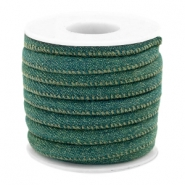 Trendy gesteppte Kordel Denim 6x4mm Dark emerald green